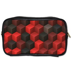 Artistic Cubes 7 Red Black Toiletries Bags 2 Side by MoreColorsinLife