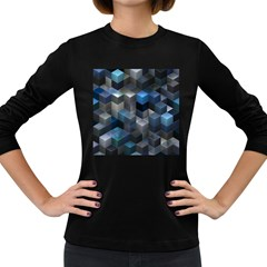 Artistic Cubes 9 Blue Women s Long Sleeve Dark T Shirts by MoreColorsinLife