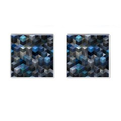 Artistic Cubes 9 Blue Cufflinks (square) by MoreColorsinLife