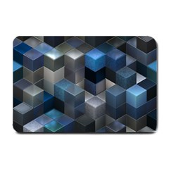 Artistic Cubes 9 Blue Small Doormat  by MoreColorsinLife