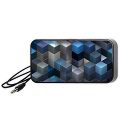 Artistic Cubes 9 Blue Portable Speaker (black)  by MoreColorsinLife