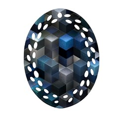 Artistic Cubes 9 Blue Ornament (oval Filigree)