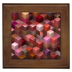 Artistic Cubes 9 Pink Red Framed Tiles by MoreColorsinLife