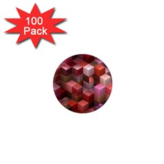Artistic Cubes 9 Pink Red 1  Mini Magnets (100 Pack)  by MoreColorsinLife