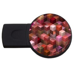 Artistic Cubes 9 Pink Red Usb Flash Drive Round (4 Gb)  by MoreColorsinLife