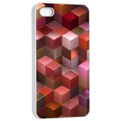 Artistic Cubes 9 Pink Red Apple Iphone 4/4s Seamless Case (white) by MoreColorsinLife