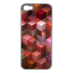 Artistic Cubes 9 Pink Red Apple Iphone 5 Case (silver) by MoreColorsinLife