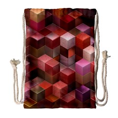 Artistic Cubes 9 Pink Red Drawstring Bag (large) by MoreColorsinLife