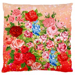 Pretty Sparkly Roses Large Flano Cushion Cases (one Side)  by LovelyDesigns4U