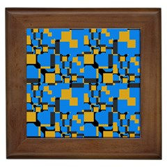 Blue Yellow Shapes Framed Tile