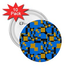 Blue Yellow Shapes 2 25  Button (10 Pack)