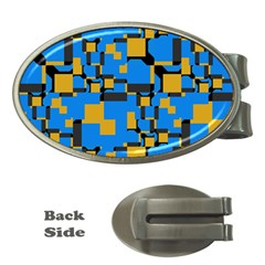 Blue Yellow Shapes Money Clip (oval) by LalyLauraFLM