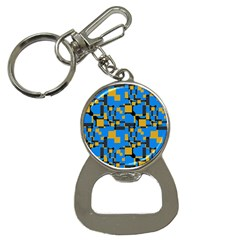 Blue Yellow Shapes Bottle Opener Key Chain by LalyLauraFLM