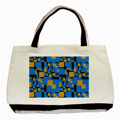 Blue Yellow Shapes Basic Tote Bag by LalyLauraFLM