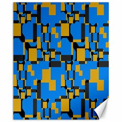Blue Yellow Shapes Canvas 11  X 14  by LalyLauraFLM