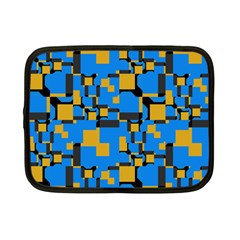 Blue Yellow Shapes Netbook Case (small) by LalyLauraFLM