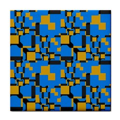 Blue Yellow Shapes Face Towel by LalyLauraFLM