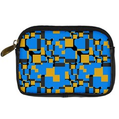 Blue Yellow Shapes Digital Camera Leather Case by LalyLauraFLM