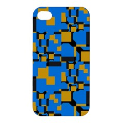 Blue Yellow Shapes Apple Iphone 4/4s Hardshell Case by LalyLauraFLM