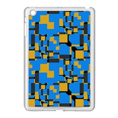 Blue Yellow Shapes Apple Ipad Mini Case (white) by LalyLauraFLM