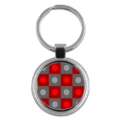 Circles In Squares Pattern Key Chain (round) by LalyLauraFLM