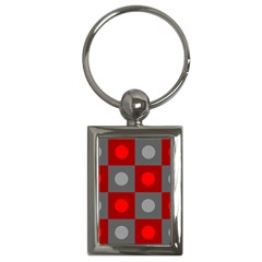 Circles In Squares Pattern Key Chain (rectangle) by LalyLauraFLM