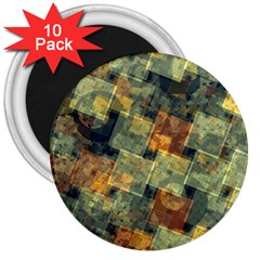 Stars Circles And Squares 3  Magnet (10 Pack) by LalyLauraFLM
