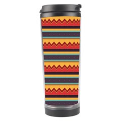 Waves And Stripes Pattern Travel Tumbler by LalyLauraFLM