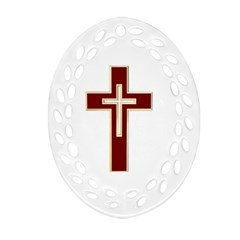 Red Christian Cross Oval Filigree Ornament (two Sides) by igorsin