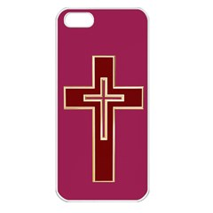 Red Christian Cross Apple Iphone 5 Seamless Case (white) by igorsin