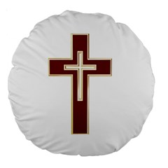 Red Christian Cross Large 18  Premium Round Cushion
