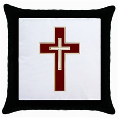 Red Christian Cross Throw Pillow Case (black) by igorsin