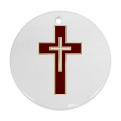Red Christian Cross Round Ornament (two Sides) by igorsin