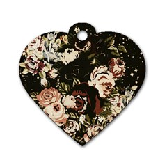Dark Roses Dog Tag Heart (two Sides) by LovelyDesigns4U
