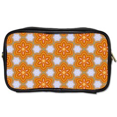 Orange Floral Travel Toiletry Bag (one Side)