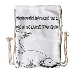 Better To Take Time To Think Drawstring Bag (large) by mouse