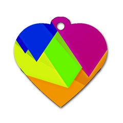 Geo Fun 15 Dog Tag Heart (one Side) by MoreColorsinLife