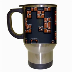 Brown Pieces Travel Mug (white) by LalyLauraFLM