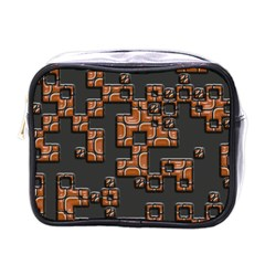 Brown Pieces Mini Toiletries Bag (one Side)