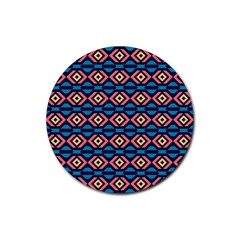 Rhombus  Pattern Rubber Round Coaster (4 Pack) by LalyLauraFLM