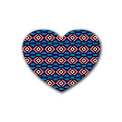 Rhombus  Pattern Heart Coaster (4 Pack) by LalyLauraFLM