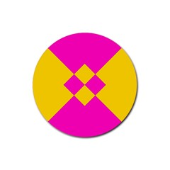 Yellow Pink Shapes Rubber Coaster (round) by LalyLauraFLM