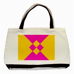 Yellow Pink Shapes Basic Tote Bag by LalyLauraFLM