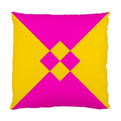 Yellow Pink Shapes Standard Cushion Case (two Sides) by LalyLauraFLM