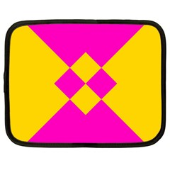 Yellow Pink Shapes Netbook Case (xxl) by LalyLauraFLM