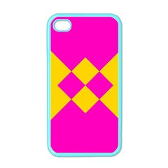 Yellow Pink Shapes Apple Iphone 4 Case (color) by LalyLauraFLM