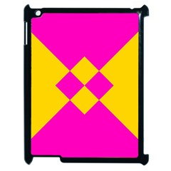 Yellow Pink Shapes Apple Ipad 2 Case (black) by LalyLauraFLM
