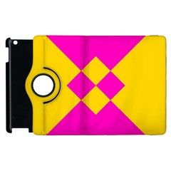 Yellow Pink Shapes Apple Ipad 3/4 Flip 360 Case by LalyLauraFLM