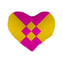 Yellow Pink Shapes Standard 16  Premium Heart Shape Cushion  by LalyLauraFLM