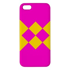 Yellow Pink Shapes Iphone 5s Premium Hardshell Case by LalyLauraFLM